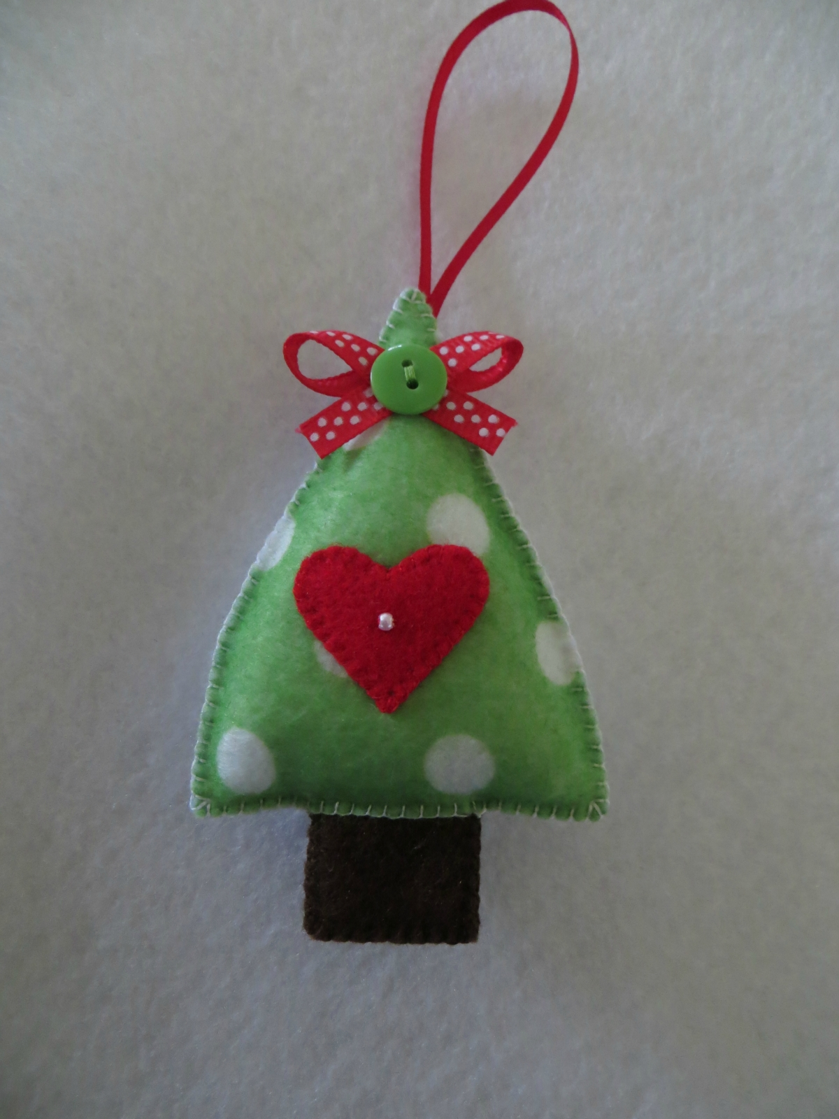Hand stitched felt christmas tree ornament