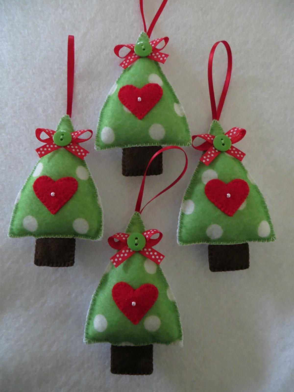 Hand stitched felt christmas tree ornament felt Homemade christmas decorations nz