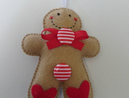 Small Felt Peppermint Gingerbread Man Ornament