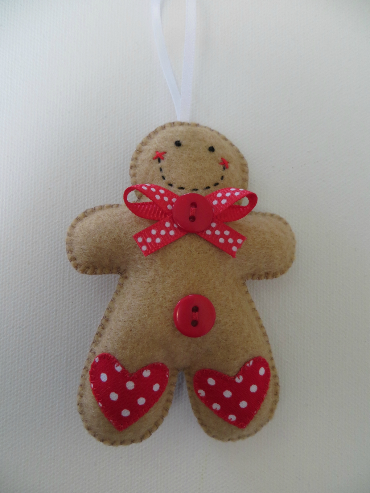 Small felt polka dot gingerbread man ornament felt for Polka dot felt fabric