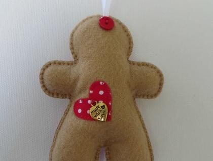 Small Felt Polka Dot Gingerbread Man Ornament