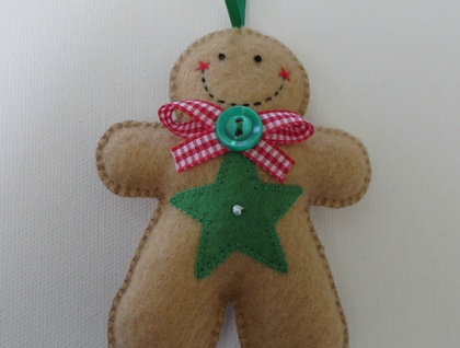 Small Felt Star Gingerbread Man Ornament