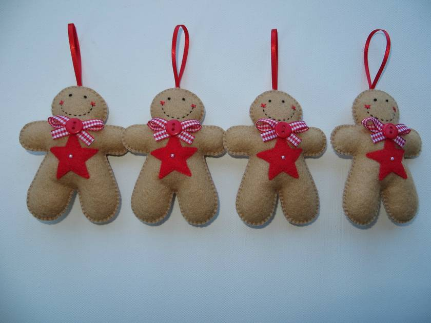 Small Felt Red Star Gingerbread Man Ornament