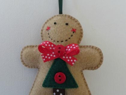 Small Felt Christmas Tree Gingerbread Man Ornament