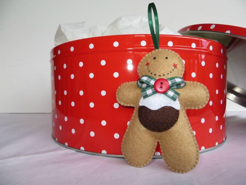 Small Felt Christmas Pud Gingerbread Man Ornament