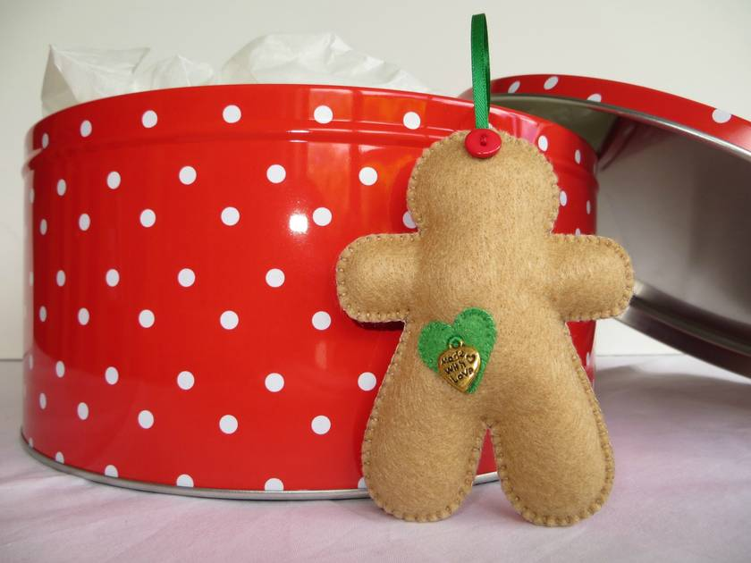 Small Felt Green Hearts Gingerbread Man Ornament