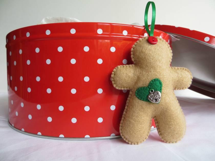Small Felt Green Hearts Gingerbread Man Ornament