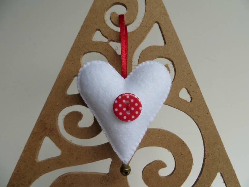 Small Felt Heart Christmas Decoration