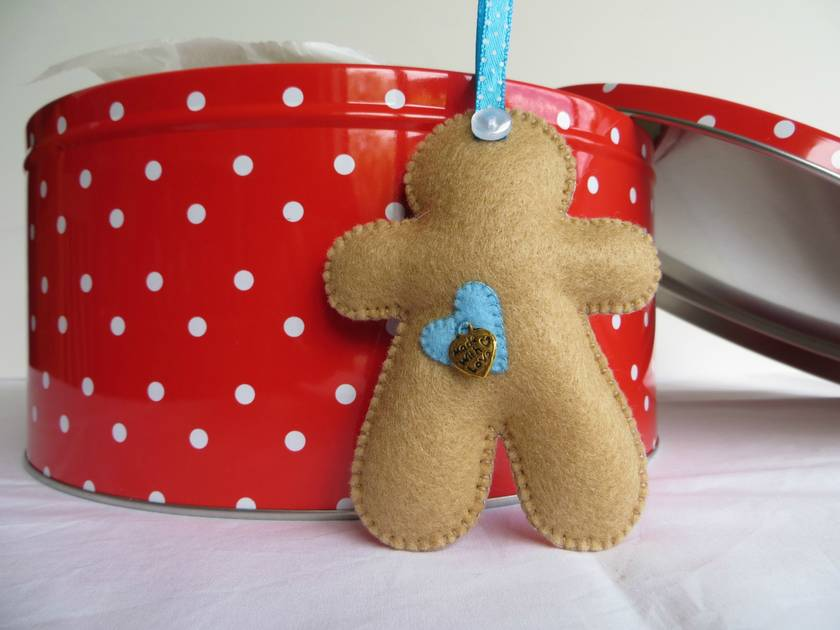 Small Felt Blue Star Gingerbread Man Ornament