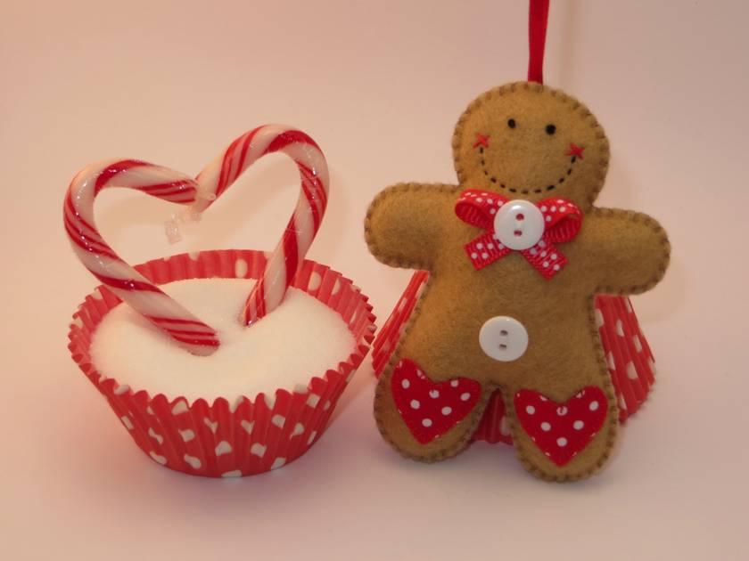 Felt Gingerbread Man Ornament - Sprinkles