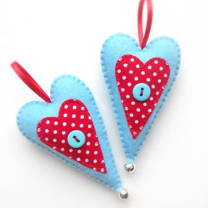 Turquoise Spotty Dotty Christmas Heart