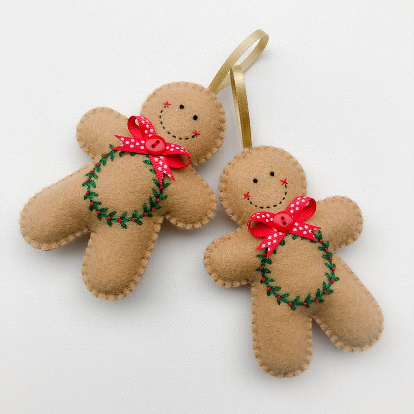 Felt Gingerbread Man Ornament - Christmas Wreath