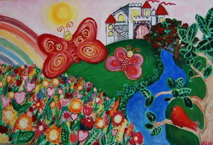 "*SALE* BUTTERFLY CASTLE- painting on canvas 20"" by 30"""