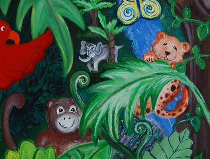 "SAFARI JUNGLE painting on canvas 20"" by 30"""