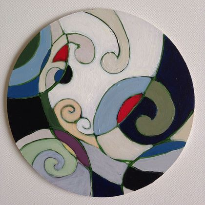 'Beginnings 2' small hand painted wooden circle