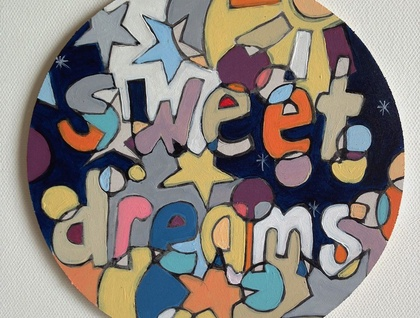 'Sweet dreams' small hand painted wooden circle