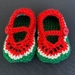 Crocheted Watermelon Baby Booties
