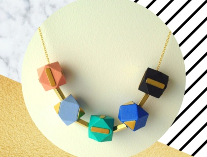 Brass Geometric Wooden Necklace