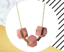 Brass Geometric Wooden Necklace in Blush