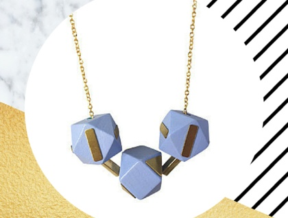 Brass Geometric Wooden Necklace in Lilac