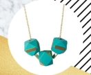 Brass Geometric Wooden Necklace in Turquoise