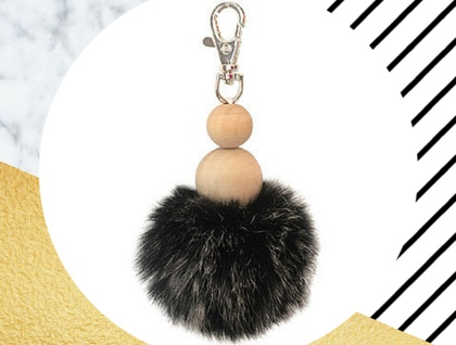 Pom Pom Keyring in Grey