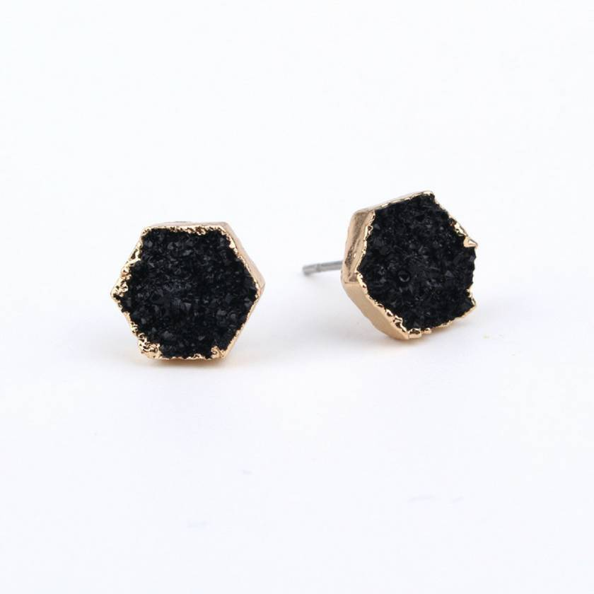 Rock Me Hex Earrings in Black Night