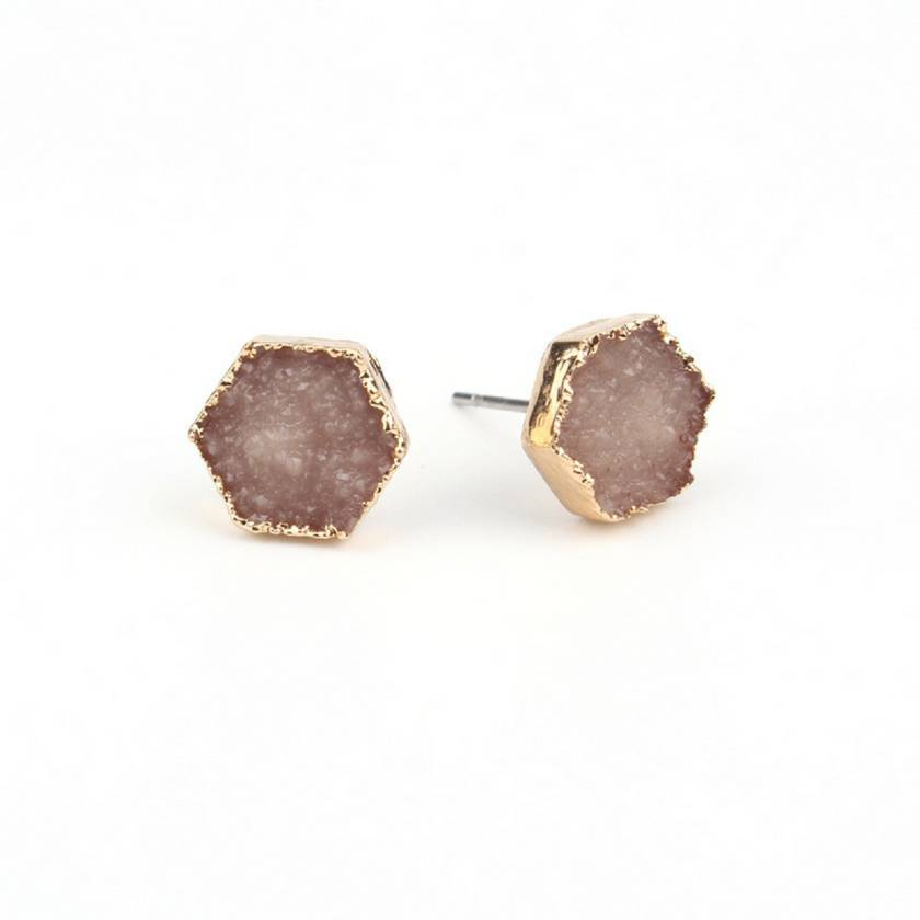 Rock Me Hex Earrings in Champagne Tan