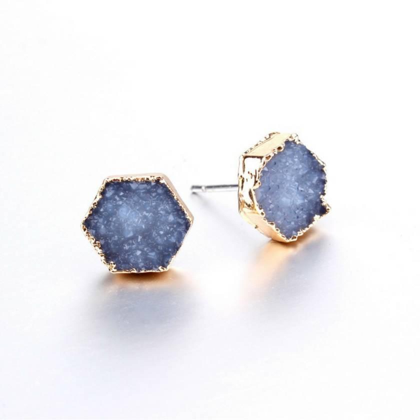Rock Me Hex Earrings in Midnight Blue