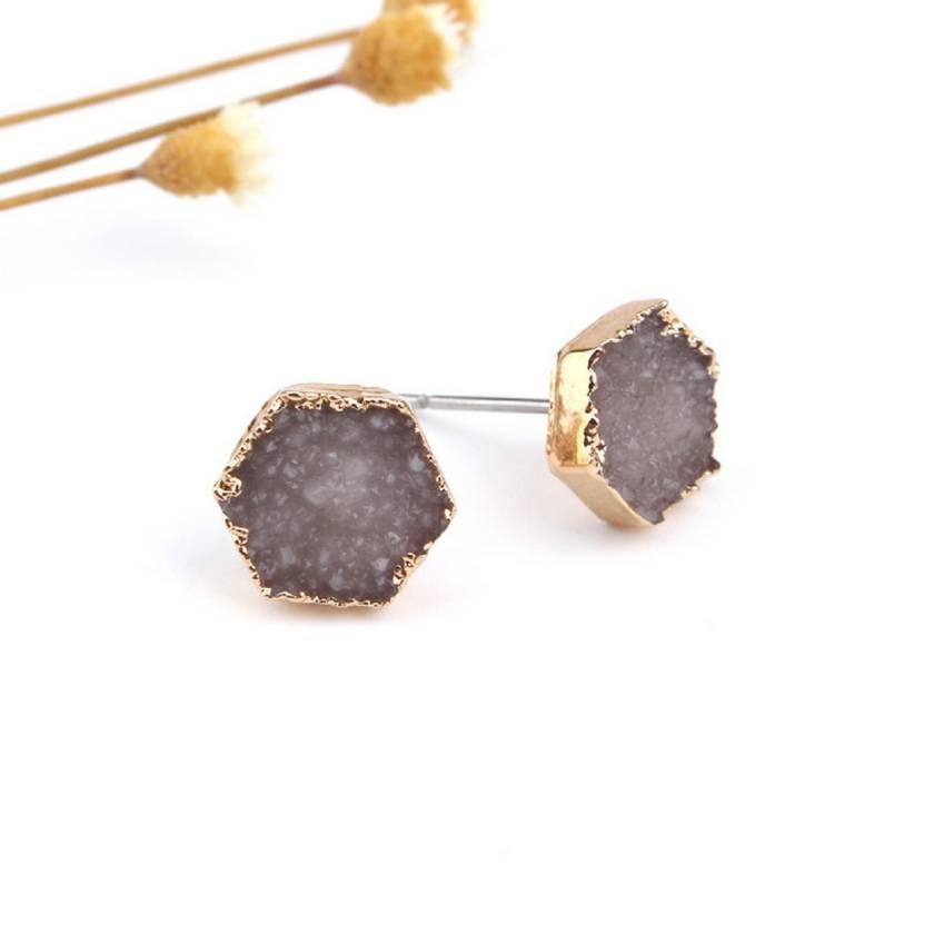 Rock Me Hex Earrings in Sand