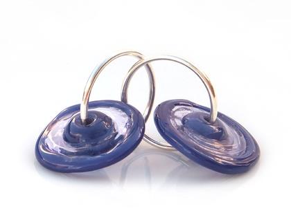 Purple Lampwork Glass Disc Earrings