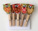 Set of 5 Pegs - Owls