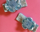 Blue/white polka dot flower hairclips