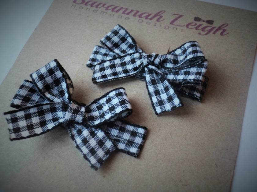 Black And White Checkered Bow Ribbon Hair Clips Felt