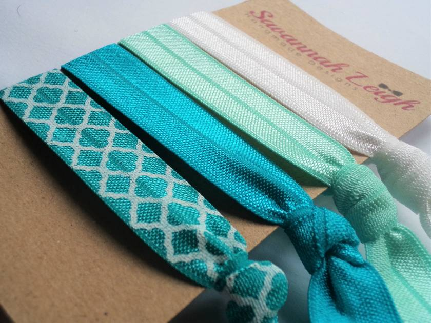 Turquoise and white knotted hair ties