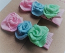 Pink blue and green pastel rose hair clips