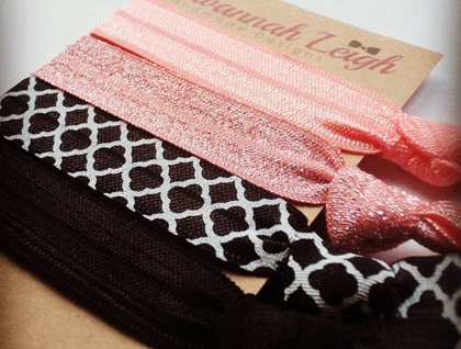 Black and peach glitter hair ties