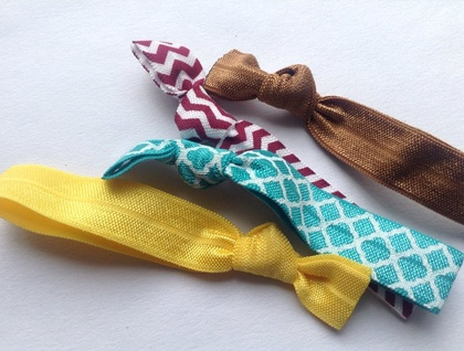 Retro brown yellow teal and burgundy knotted hair ties
