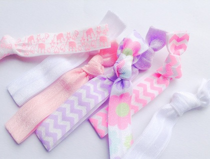 pink purple and white knotted hair ties