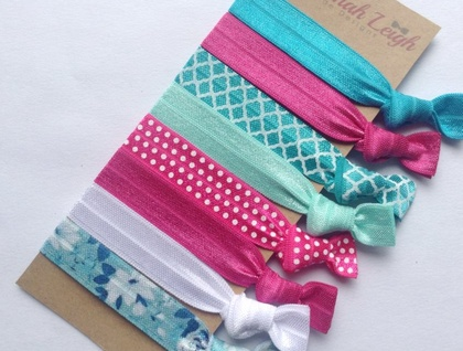 Pink teal and white knotted hair ties