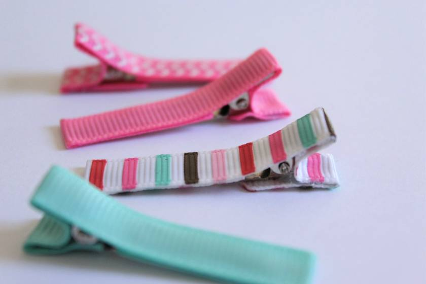 Pink and turquoise set of 4 hairclips