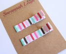 Pink red turquoise brown and white hair clips
