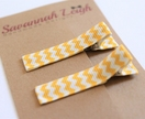 yellow and white chevron hair clips