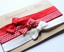 Red & white elastic polka dot bowknot baby headbands set of three