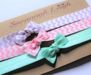 Purple pink and turquoise bow knot chevron baby headbands set of three