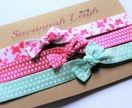 Bright pink and turquoise bow knot chevron baby headbands set of three