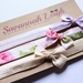 Lavender, beige, and pink floral bow knot baby headbands set of three
