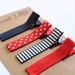 Navy blue red & white ribbon covered set of 4 hairclips