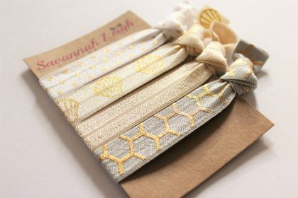 Ivory gray and gold knotted hair ties