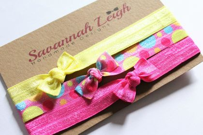 Yellow, pink, and blue print bow knot baby headbands set of three